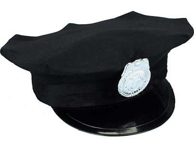 Police Officer Policewoman Navy Blue Cop Hat Silver Badge Costume Accessory - Navy Blue Costume