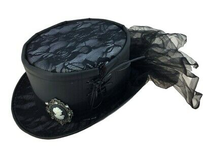 Costume With Top Hat (Deluxe Black Steampunk Top Hat with Cameo & Lace Victorian Adult  Costume)
