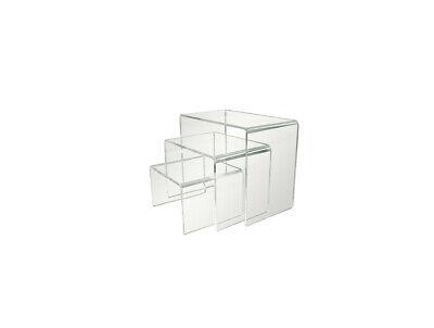 Clear Acrylic Display Risers Shelf Showcase For Jewelry Dessert Cupcake-pack 3