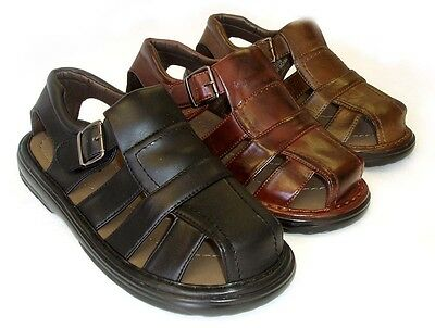 Closed Toe Fisherman Sandal - NEW MENS LEATHER STRAP FISHERMAN COMFORT SANDALS  CLOSED TOE  3 COLORS