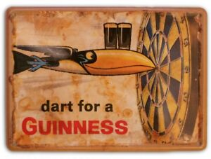 GUINNESS DART FOR  Small Vintage Metal Tin Pub Sign
