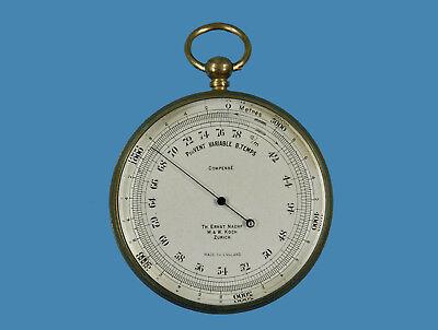 Taschen- bzw. Reise-Barometer/Höhenmesser im Etui. England um 1890