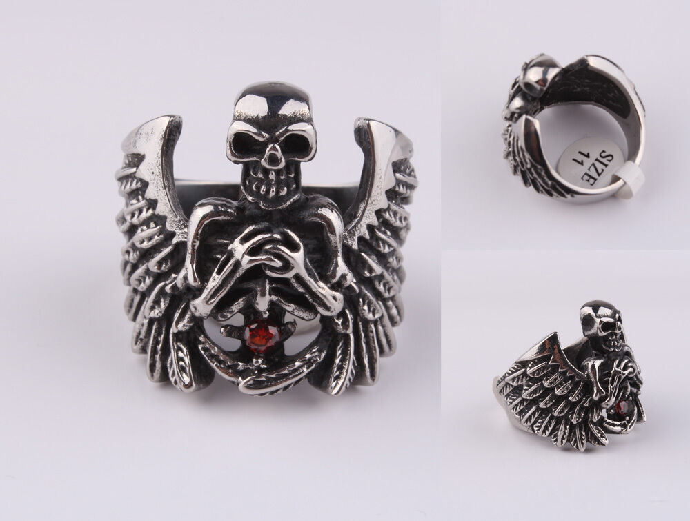 New Men/'s 316L Stainless Steel Punk Skull With Wings Biker Ring US Size 9-13