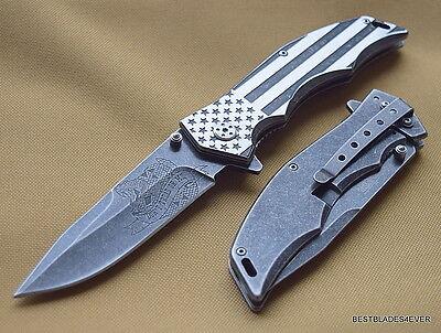 Mtech Xtreme U S Flag   Snake Art Tactical Spring Assisted Knife   Razor Sharp