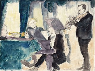Rudolf Grossmann, Orchester, Aquarell über Bleistift, signiert, um 1925