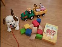 set of baby / toddler toys (pull along dog, tractor, blocks, flashcards)