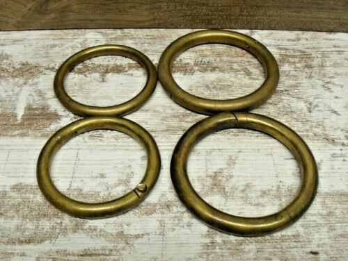 4 VINTAGE SOLID HEAVY BRASS COPPER BULL NOSE RINGS FARM LIVESTOCK  COW DAIRY