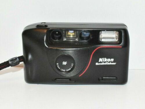 NIKON SMILETAKER 35m Point & Shoot Auto Focus Film Camera Tested Working Black