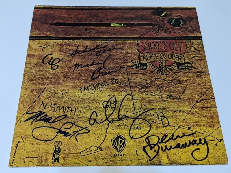 Alice Cooper - Signed Schools Out Album cover by Alice and original band members
