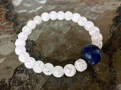 - Crystal Quartz with 14mm Lapis Lazuli Center Stone Mala Beads Bracelet