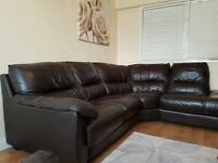 DFS Brown Leather Corner Sofa in very condition