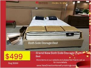 Whole Sale Price To Public EVENT-Brand New Both Side Storage Queen Fabric Bed Blow Out @ New Direction Home Furnishings