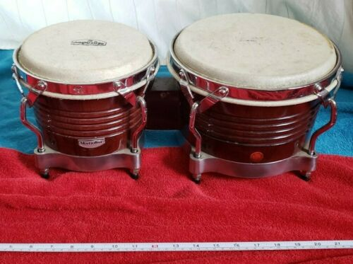 VGUC vtg? ❤ MATADOR•bongo•small•drums•pair•set•WOOD•hand PERCUSSION•chrome☮620