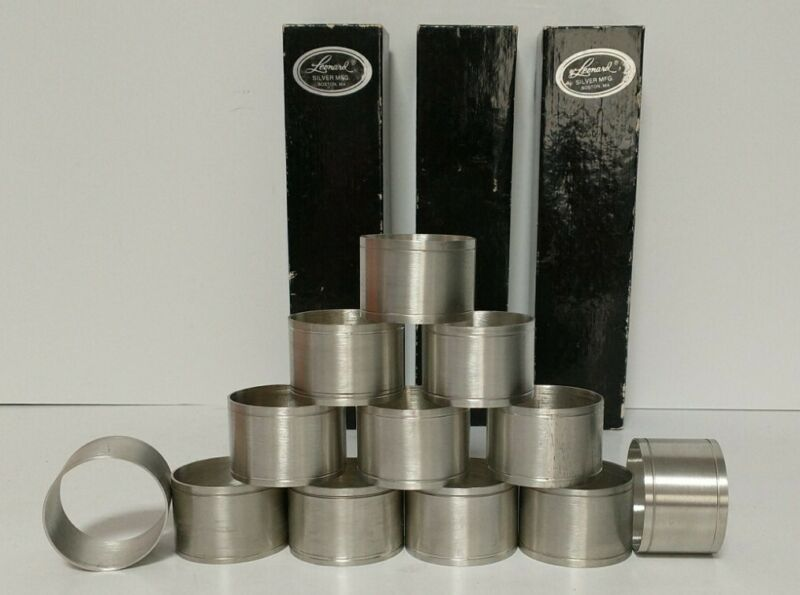 Vintage Set of 12 Leonard Silver Mfg. Silver Plate Napkin Rings #9041 in boxes