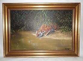 Tiger scene oil painting signed