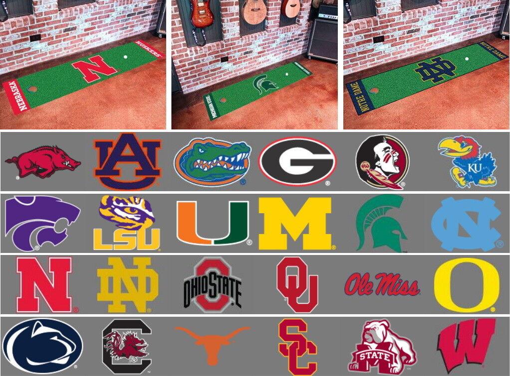 NCAA Golf Runner Putting Mat Area Rug Choose Your Team