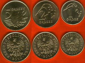 Poland set of 3 coins: 1-5 groszy 2010-11 UNC