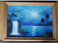 "Waterfall Print in a Pine Frame Measurements Height 24"" (61cm) Width 32"" (81cm)"