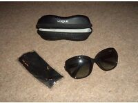 Black Vogue sunglasses/shades, Vogue cloth cleaner in Vogue case