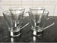Brand New set of 4 Coffee Expresso Latte Glasses / Cups / Mugs