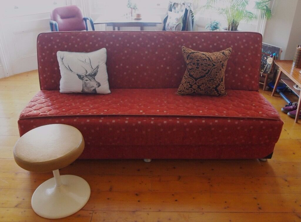 vintage click-clack sofa bed (sprung & firm no cheap foam!) small ...