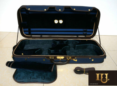 Top Quality Wooden Structure Double Violin Case  Blue Color 3.9kg Free shipping