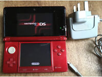Nintendo 3DS Flame Red Handheld System Internet Wifi Microphone Camera + game