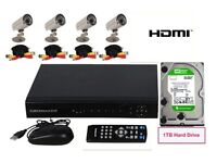 8 Channel CCTV DVR Security Camera System INCLUDES 4 cameras, cables, 1TB Hard Drive Inside NEW