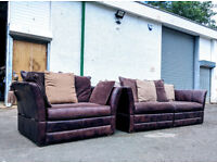 Barker Stonehouse 4+1.5 Distressed leather/fabric drop arm sofas DELIVERY AVAILABLE