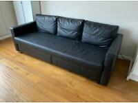 FREE DELIVERY IKEA FRIHETEN BLACK LEATHER 3 SEAT SOFA BED GOOD CONDITION