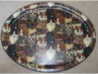 "LARGE VINTAGE ""CATS"" FIBRE GLASS SERVING FOOD TRAY"