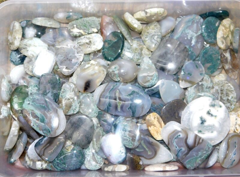250Cts A+++ Moss Agate Cabochon Natural Gemstone Wholesale Lot- 232