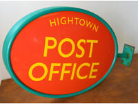 Old Hightown original Post Office double sided plastic sign vintage antique industrial not enamel