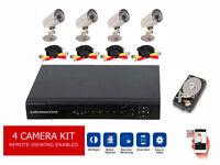 CCTV Security Camera Surveillance Kit. 4x cameras, cables, Internet enabled DVR & Hard Drive