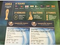Sri Lanka vs South Africa ICC Champions Trophy at the Oval 3rd June x 2 Gold Tickets FACE VALUE