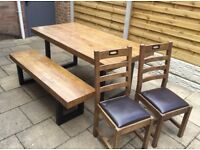Reclaimed Timber Dining Table, Bench & Chairs, Never Used !!