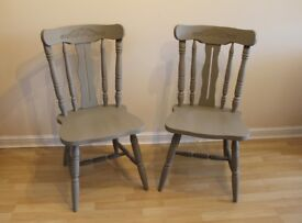 Pair of Farmhouse Dining Chairs - Painted Pine BOGOF
