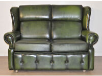 Attractive Vintage Green Leather Two 2 Seat Scroll Arm Sofa Couch Settee