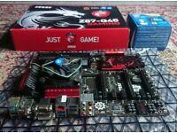CPU, Motherboard, Ram bundle. MSI Z87-G45 Gaming Motherboard, Intel i7 4770k CPU, 8GB ddr3 Ram.