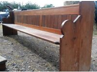 """ANTIQUE PITCH PINE CHURCH PEW - 10' 10"""" LONG BENCH / PEW -Delivery available"""