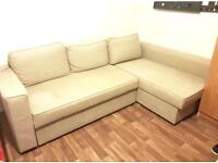 Corner Sofa-Bed Beige colour with Storage - IKEA . Good condition