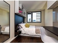 Double bed in 252 rooms student hall at Paris Garden Street, London