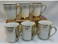 NEW 6 X GOLD DESIGNER DESIGN TEA / COFFEE MUG