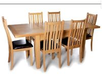 Solid Oak Extending Dining Table + 6 Chairs