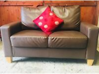Chocolate brown leather two seater