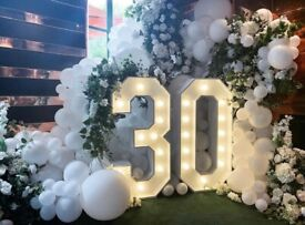 Large Light up Letters and Numbers for birthday or Weddings for HIRE