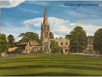 Witney Church green A3 Giclee limited edition print