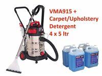 Sealey VMA915 & 4 x 5 ltr Car Valet Machine Wet/Dry Carpet Upholstery Cleaner