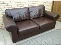Dark brown leather sofa in good condition/ Free local delivery
