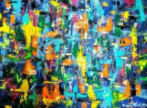 36X48 BLIND FAITH Large Abstract Painting Original Art Multi-color Black Bright Gallery Canvas Thick Big New Oakville
